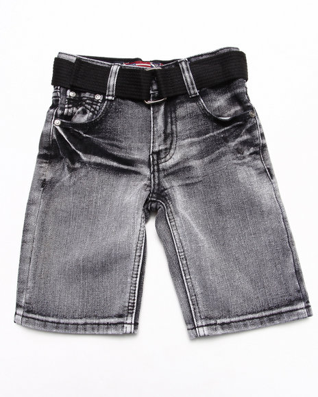 Arcade Styles - BELTED BLEACH WASH DENIM SHORT (4-7)