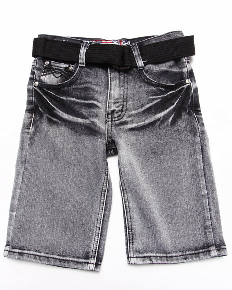 Arcade Styles - Boys Black Belted Bleach Wash Denim Shorts (8-18)