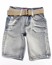 Shorts - BELTED BLEACH WASH DENIM SHORTS (4-7)