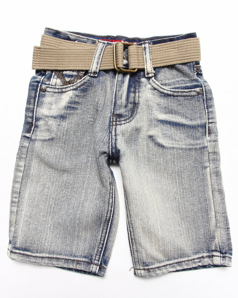 Arcade Styles - Boys Light Wash Belted Bleach Wash Denim Shorts (4-7)