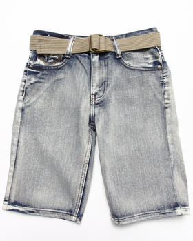 Arcade Styles - BELTED BLEACH WASH DENIM SHORTS (8-18)