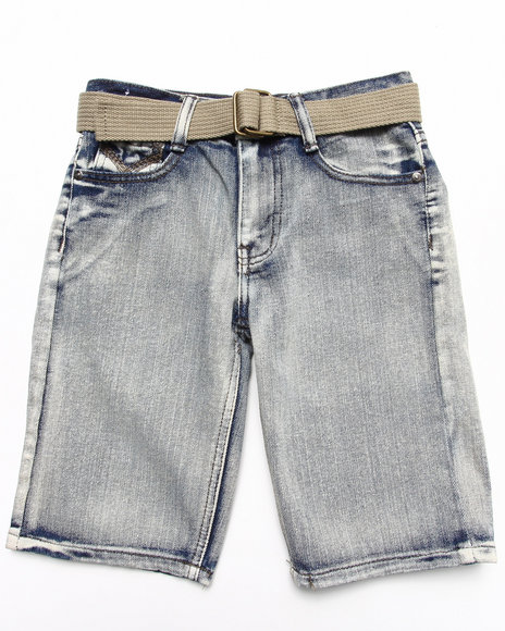 Arcade Styles - Boys Light Wash Belted Bleach Wash Denim Shorts (8-18)