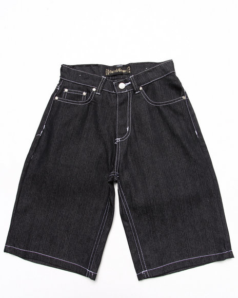 Arcade Styles - Boys Black Raw Denim Shorts (8-18)