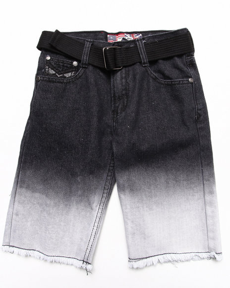 Arcade Styles - Boys Black Dip Dye Denim Shorts (8-18)