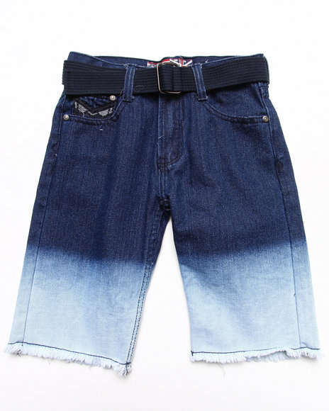Arcade Styles - Boys Dark Wash Dip Dye Denim Shorts (8-18)