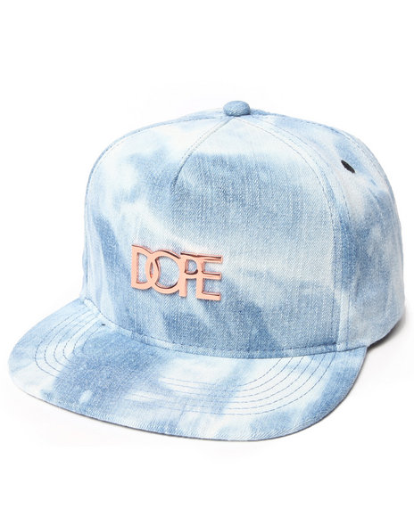 Dope Rose Gold Metal Logo Snapback Blue