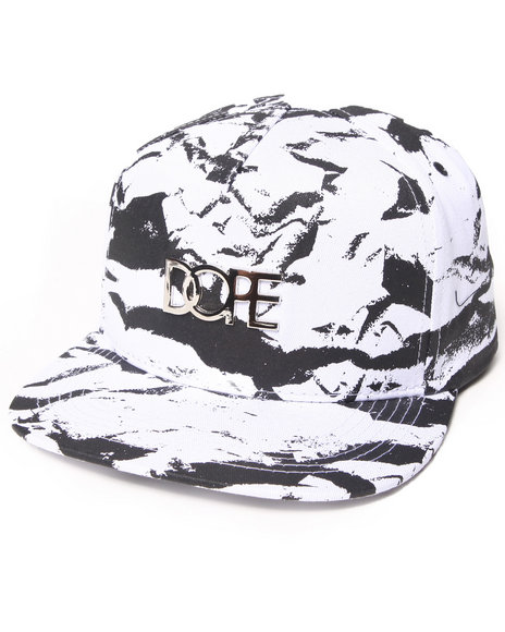 Dope White Gold Metal Logo Snapback White