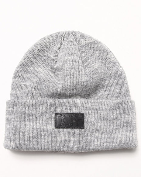Dope Vegan Leather Patch Beanie Grey