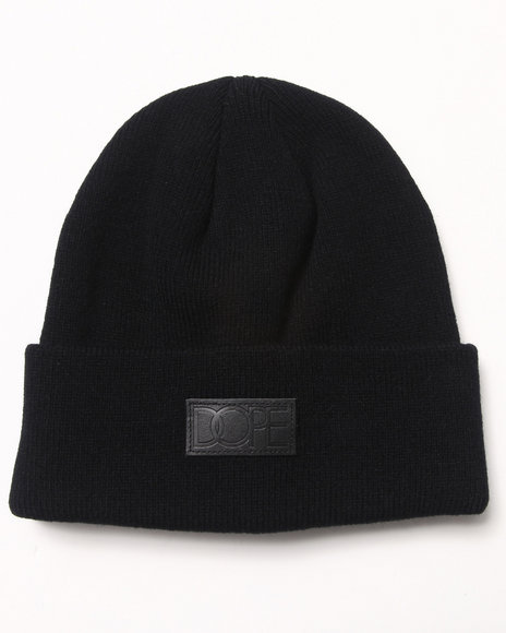 Dope Vegan Leather Patch Beanie Black