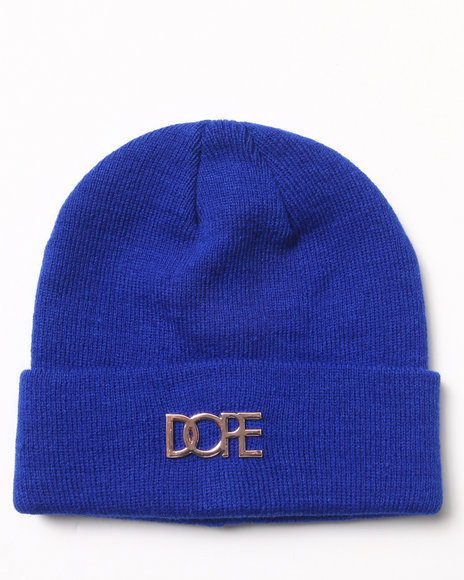 Dope Gold Metal Logo Beanie Blue