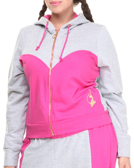 Baby Phat - Color Block Cropped Hoodie (Plus)