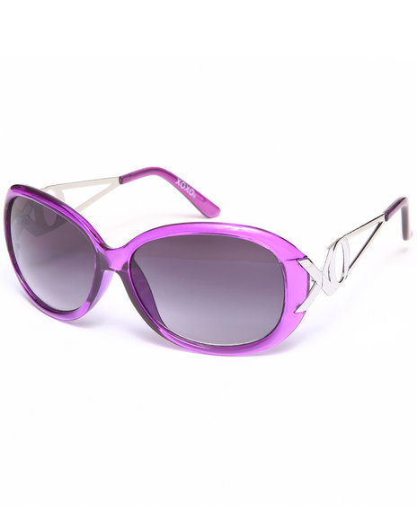Xoxo Women Cut-Out Temple Color Sunglasses Purple