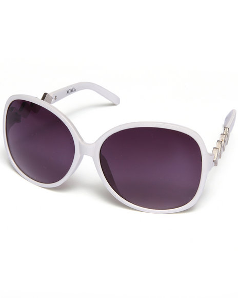 Xoxo Women Enamel Logo Temple Sunglasses Silver