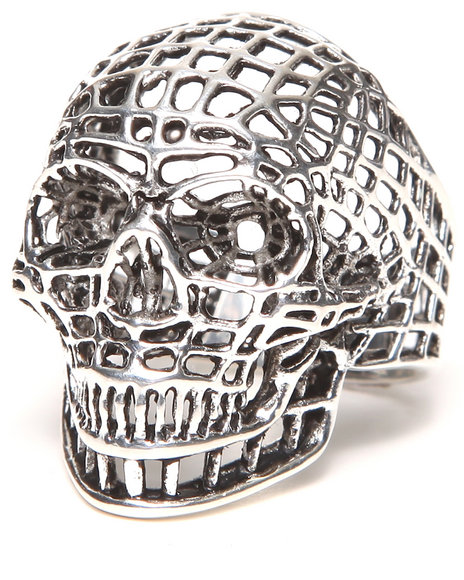 Han Cholo - Men Silver Mesh Skull Ring
