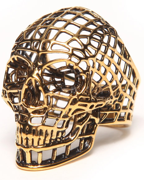 Han Cholo Gold Mesh Skull Ring