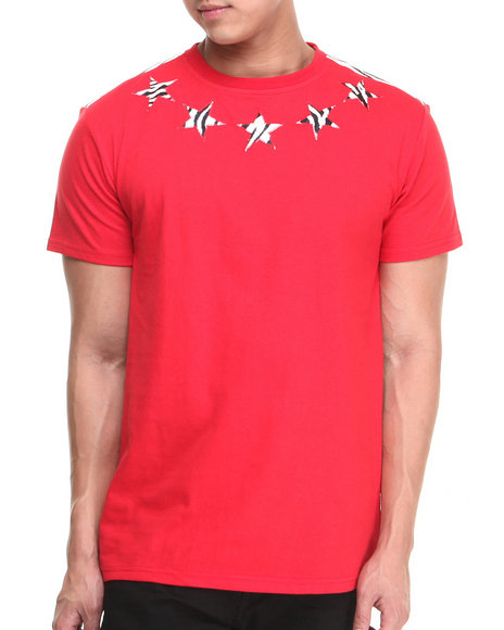 Buyers Picks - Men Red Flower Faux Leather Trim Star Tee