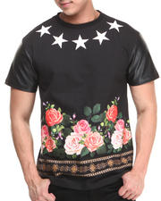 Buyers Picks - Flowerz & Starz Faux leather sleeve Tee