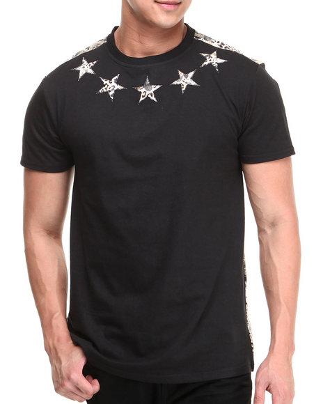 Buyers Picks - Men Black Flower Faux Leather Trim Star Tee - $22.99