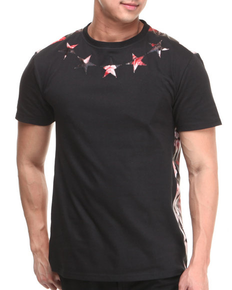 Buyers Picks - Men Black Flower Faux Leather Trim Star Tee