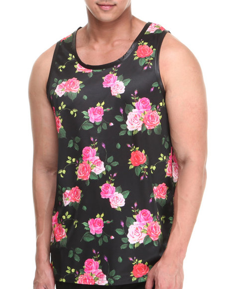 Buyers Picks - Men Black Flowers N Stuff Faux Leather Trim Tank Top
