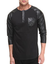 Buyers Picks - 3/4 Faux Leather Sleeve Pocket shirt