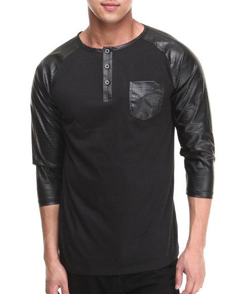 Buyers Picks - Men Black 3/4 Faux Leather Sleeve Pocket Shirt