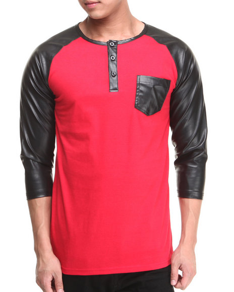 Buyers Picks - Men Red 3/4 Faux Leather Sleeve Pocket Shirt