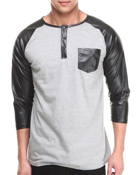 Buyers Picks - Men Grey 3/4 Faux Leather Sleeve Pocket Shirt