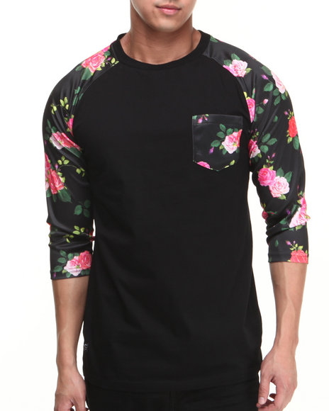 Buyers Picks - Men Black Flowers N Stuff Raglan Pocket Shirt