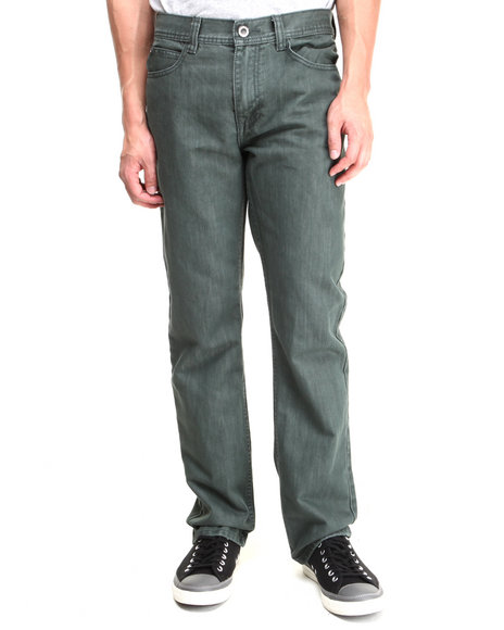 Buyers Picks - Men Green Over-Dyed Slim/Straight Fit Denim Pants - $12.99