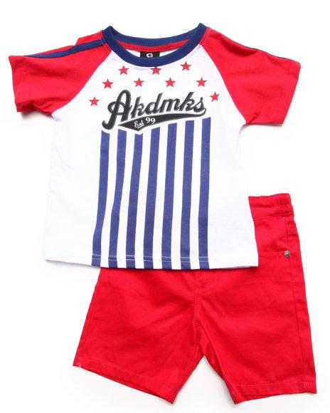 Akademiks Boys Red 2 Pc Set Raglan Flag Tee & Shorts (2T-4T)