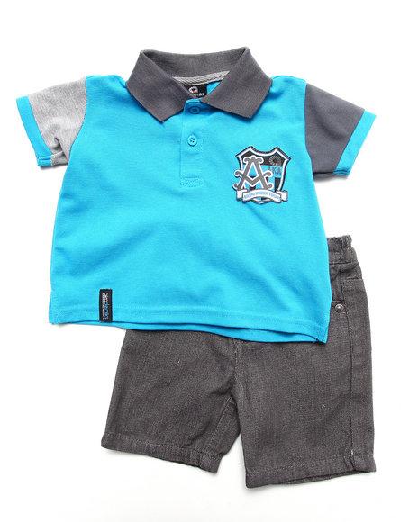 Akademiks Boys Blue 2 Pc Set Polo & Shorts (Infant)