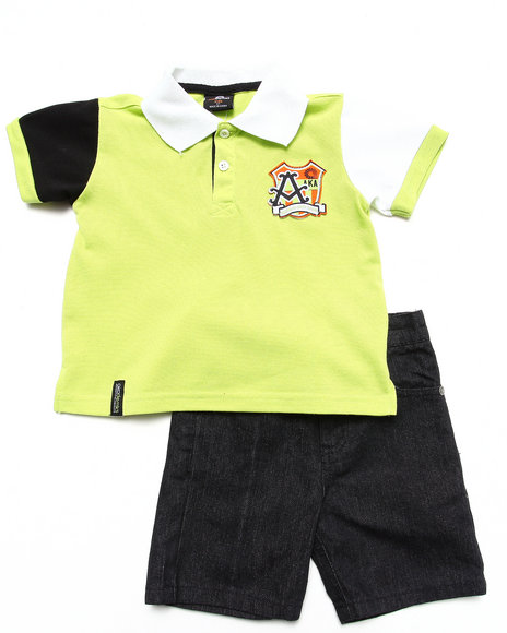 Akademiks - Boys Lime Green 2 Pc Set - Polo & Shorts (2T-4T)