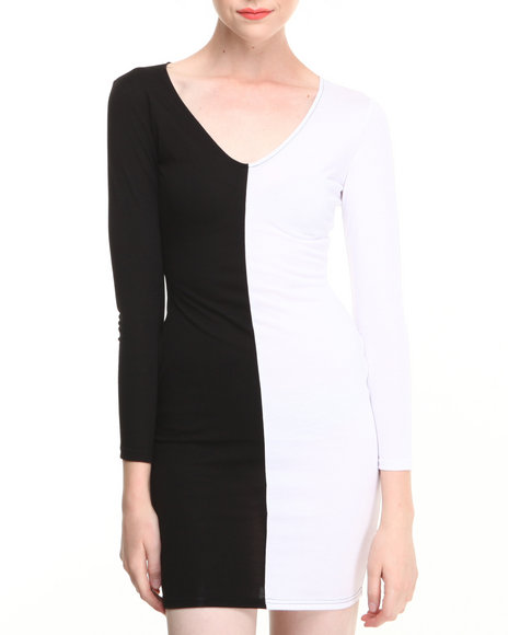 Coogi - Women Black,White Deep-V Two-Tone Bodycon Dress - $17.99