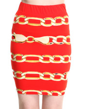 Women - Chain Print Bodycon Skirt