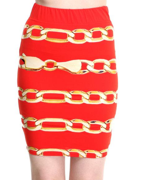 COOGI Red Chain Print Bodycon Skirt