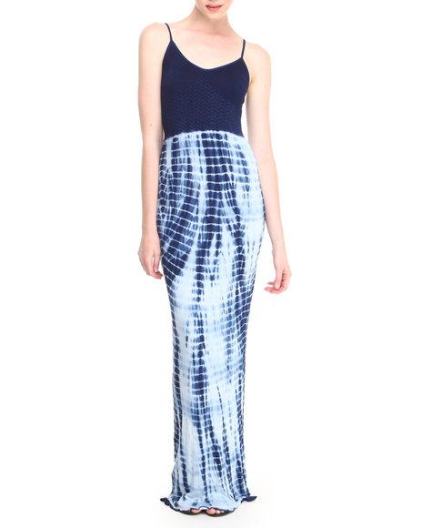 Fashion Lab - Women Blue Blue Jay Seamless Cami Maxi Dress W/ Tie-Dye Bottom