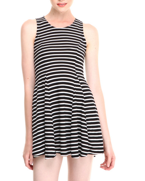 Fashion Lab - Women Off White,Black Striped Sleeveless Skater Dress