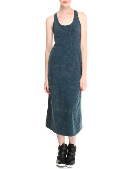 Fashion Lab - Women Blue Cleo Acid Wash Racerback Maxi Dress W/ Front Pocket