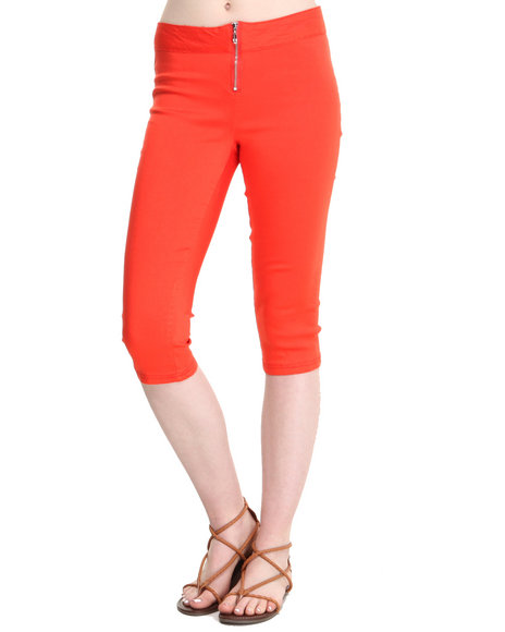Fashion Lab - Women Orange Solid Stretch Capri W/ Exposed Front Zipper