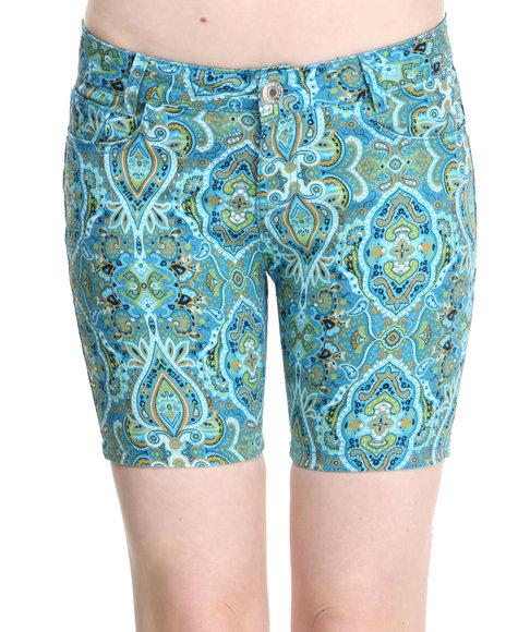 Fashion Lab - Women Blue Paisley Park Bermuda Short
