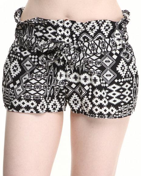 Fashion Lab - Women Cream Valley Suns South Western Print Short W/Belt