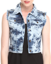Outerwear - Tracy Acid Wash Denim Vest w/ Fray & Stud Details