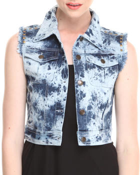 Fashion Lab - Tracy Acid Wash Denim Vest w/ Fray & Stud Details