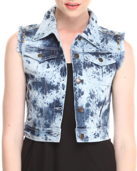 Fashion Lab - Women Blue Tracy Acid Wash Denim Vest W/ Fray & Stud Details