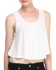 Women - Cropped Trapeze Tank w/ Snap Button Front Detail