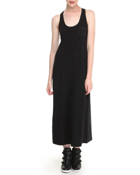 Fashion Lab - Women Black Stark Acid Wash Racerback Maxi Dress W/ Front Pocket