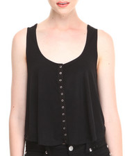 Fashion Lab - Cropped Trapeze Tank w/ Snap Button Front Detail