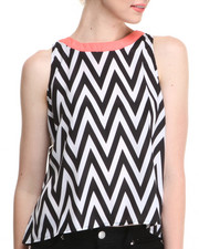 Apple Bottoms - Chevron Print Back Zip Top