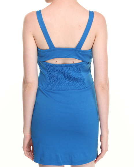 Apple Bottoms - Women Blue Body Con Peek-A-Boo Back Dress